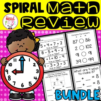 1st Grade Spiraled Differentiated Math Review BUNDLE SAVES OVER 20%