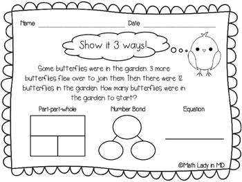 1st Grade Spring Word Problems - Show It 3 Ways!
