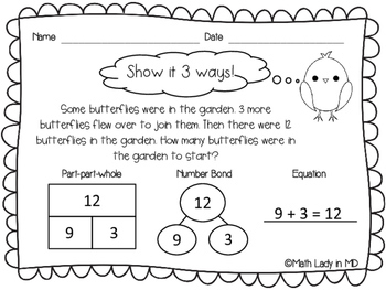 1st Grade Spring Word Problems - Show It 3 Ways!