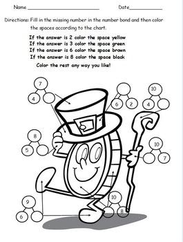 1st Grade St. Patrick's Day Color By Number Bond - Based on Eureka Math