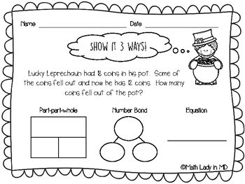 1st Grade St. Patrick's Day Word Problems - Show It 3 Ways!