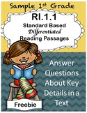 R.I.1.1 1st Grade  Differentiated Passages (Sample)