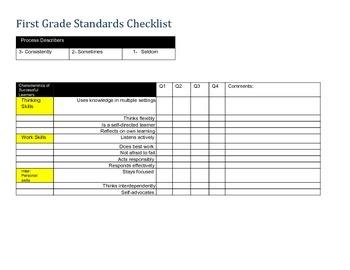 1st Grade Standard's Based Checklist (Common Core)