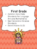 1st Grade Standards Binder: Common Core, Next Generation a