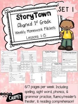 1st Grade Storytown Weekly HW Weeks 1-15