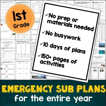 1st Grade Sub Plans: EVERYTHING you need for 10 days of absences