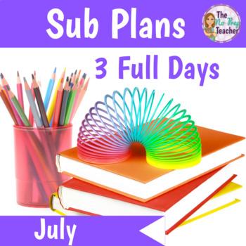 1st Grade Sub Plans July 3 Full Days