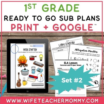 Sub Plans 1st Grade Ready To Go for Substitute. DAY #2. No