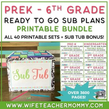 1st Grade Sub Plans Ready To Go for Substitute. No Prep. FOUR full days bundle.