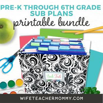 1st Grade Sub Plans- Emergency Substitute Plans for Sub Tub- 4 Set Bundle