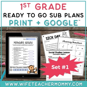 1st Grade Sub Plans Ready To Go for Substitute. No Prep. One full day.