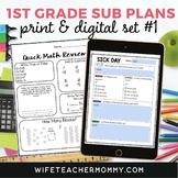 1st Grade Sub Plans Set #1- Emergency Substitute Lessons