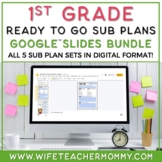 1st Grade Sub Plans Ready To Go for Substitute. No Prep. THREE day bundle.