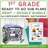 1st Grade Sub Plans Ready To Go for Substitute. ONE FULL WEEK Bundle.