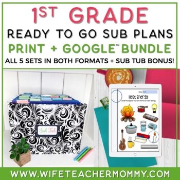 1st Grade Sub Plans Ready To Go for Substitute. ONE FULL WEEK!