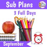 Sub Plans 1st Grade September 3 Full Days