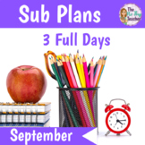 Sub Plans 1st Grade September Bundle