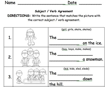 1st grade subject verb agreement 2 by krista lynch tpt. Black Bedroom Furniture Sets. Home Design Ideas
