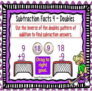 1st Grade Subtraction 4 - Doubles Pattern Powerpoint Lesson & Boom Cards
