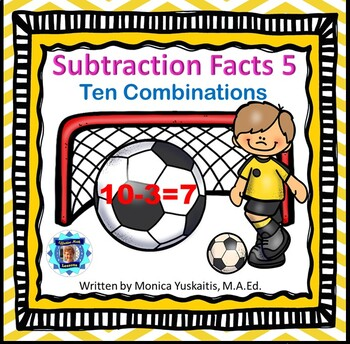 1st Grade Subtraction Facts 5 Combinations of Ten Powerpoint Lesson & Boom Cards