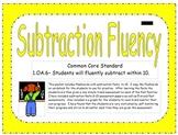 1st Grade Subtraction Fluency Practice