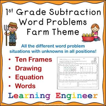 1st Grade Math Center Worksheets, One Step Equations, Math