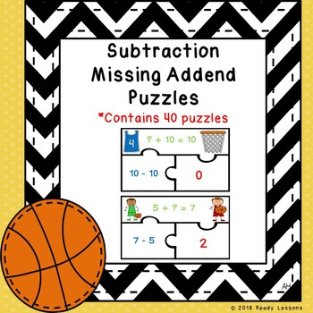 1st Grade Subtraction as Missing Addend Game Puzzles Missing Part Addends 1.OA.4