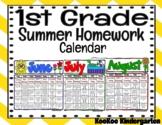 1st Grade Summer Homework Calendar
