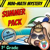 1st Grade Summer Packet of Mini Math Mysteries  (Printable