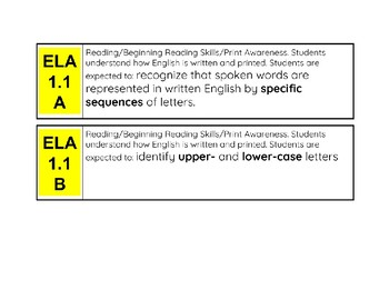 1st Grade TEK Cards (Core Subjects)