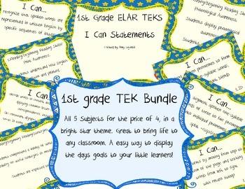 1st Grade TEKS I can Statements BUNDLE