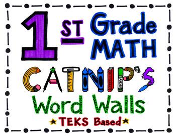 1st Grade TEKS Based Math Word Wall