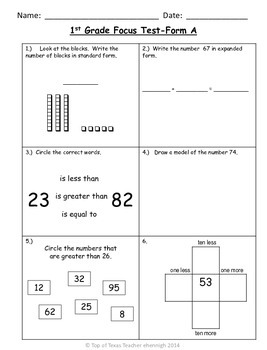 1st Grade TEKS Focus Test/ Benchmark  Form A:   An RTI Ass