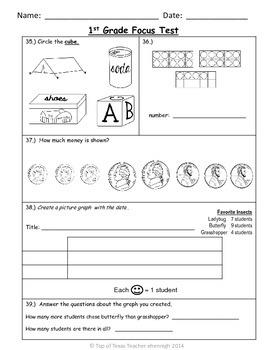 1st Grade TEKS Focus Test/ Benchmark  Form B:   An RTI Ass