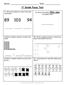 1st Grade TEKS Focus Test/Benchmark Form C-End of the Year: RTI Assessment Tool