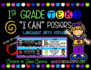 "1st Grade TEKS ""I Can"" Learning Target Poster (Language Ar"