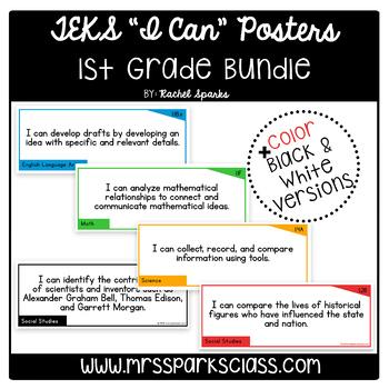 """1st Grade TEKS """"I Can"""" Statement Cards Bundle"""