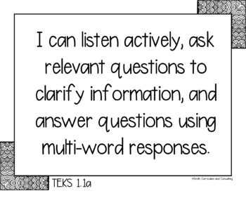 """First Grade TEKS """"I Can"""" Statements Bundle- All 4 Core Subjects"""