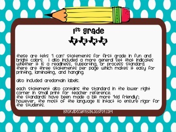 """1st Grade TEKS """"I Can"""" Statements: Science Edition"""