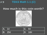 1st Grade TEKS Math 1.1(C) Identify Coins By Name and Value.