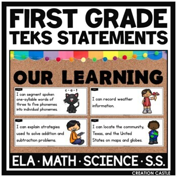 First Grade TEKS Bundle - Can and Will Standards Statements