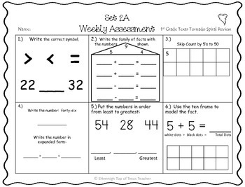 1st Grade TEKS TX Tornado Spiral EXTRA: Homework & Weekly ...
