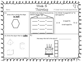 1st Grade TEKS TX Tornado Spiral Review & Prob of the Day PART 3 Sets 19-24