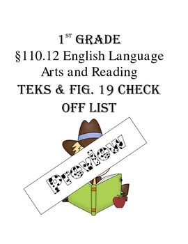1st Grade TEKS (Texas Standards) Check-Off list with Fig. 19