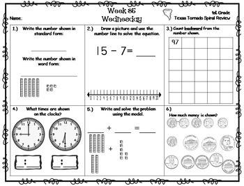 1st Grade TEKS Texas Tornado Spiral Review BUNDLE Parts 1-5: Sets 1-36