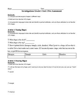 1st Grade TERC Investigations Unit 2 Pre-Assessment