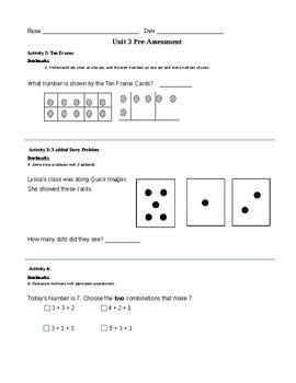 1st Grade TERC Investigations Unit 3 Pre-Assessment