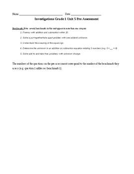 1st Grade TERC Investigations Unit 5 Pre-Assessment
