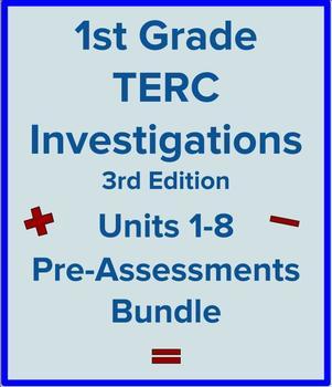 1st Grade TERC Investigations Units 1-8 Pre-Assessments Bundle