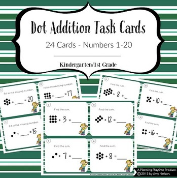 1st Grade Task Cards - Dot Addition Math